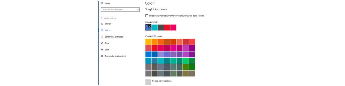 come cambiare sfondo Windows 10 colori finestre