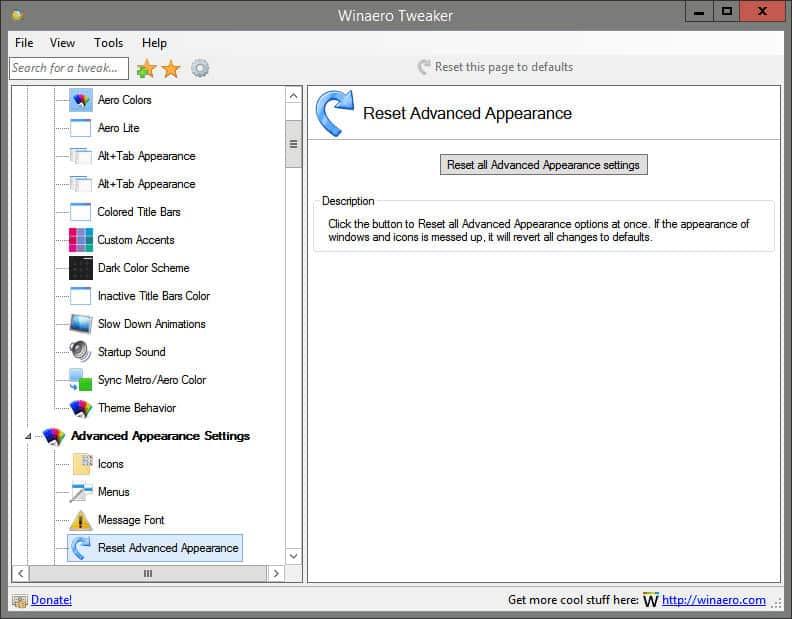 come installare font su Windows 10 reset Winaero Tweaker