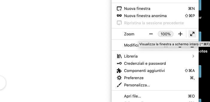 come mettere il browser full screen Firefox