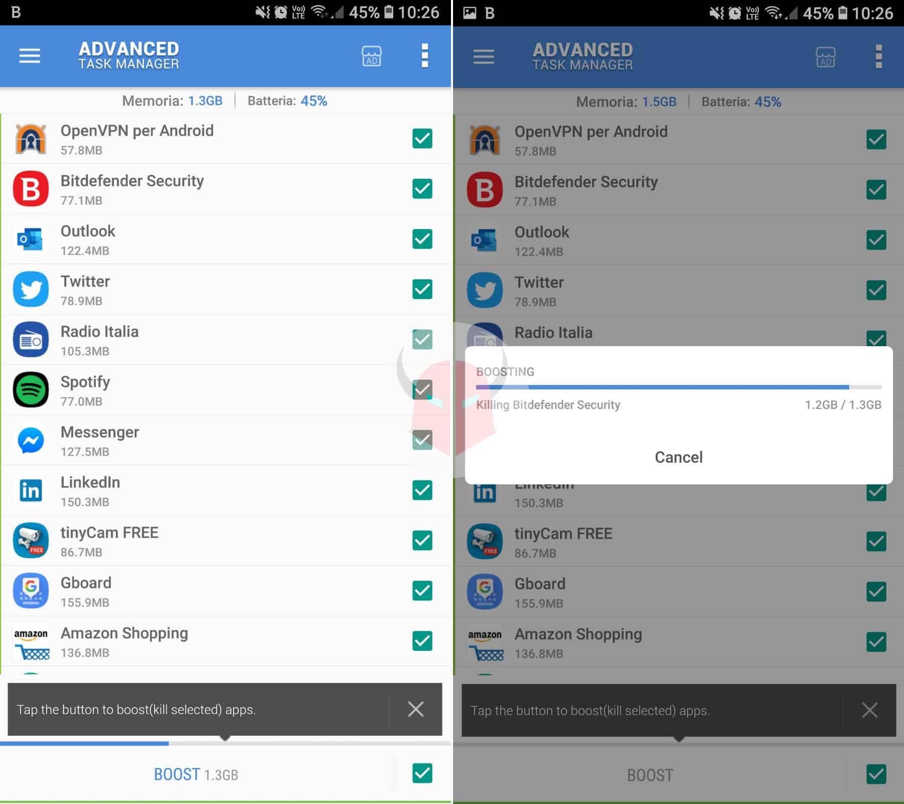 come aumentare durata batteria Android app Advanced Task Manager