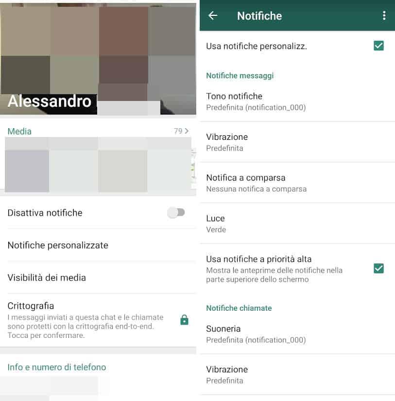 come cambiare la suoneria su WhatsApp per singolo contatto