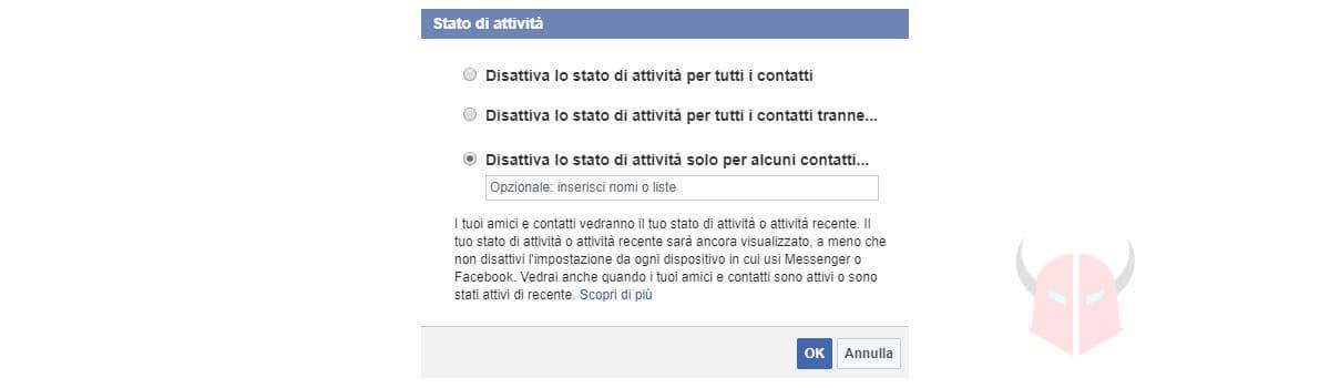 come navigare in anonimo Facebook disattivazione chat
