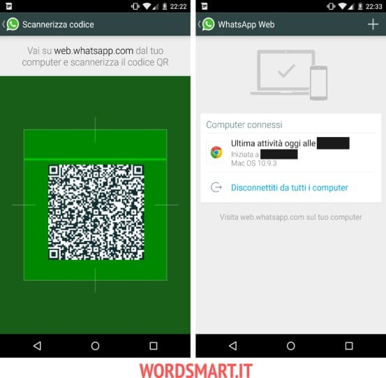 accedere whatsapp web android