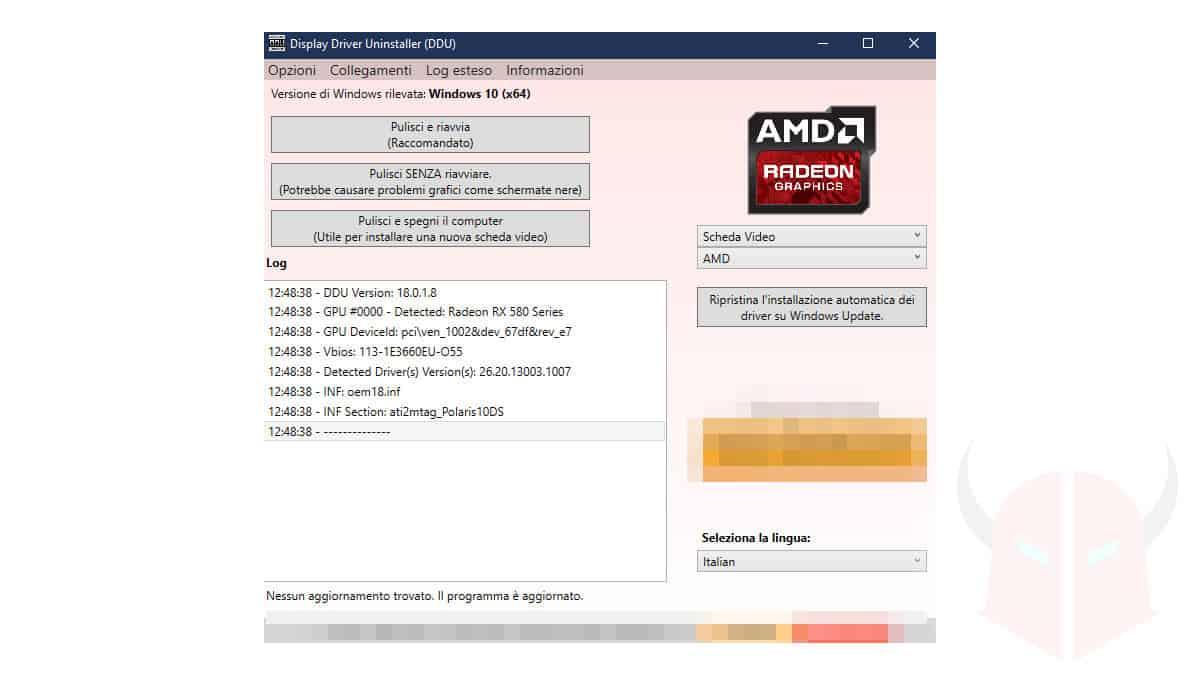 come aggiornare driver scheda video AMD pulizia DDU