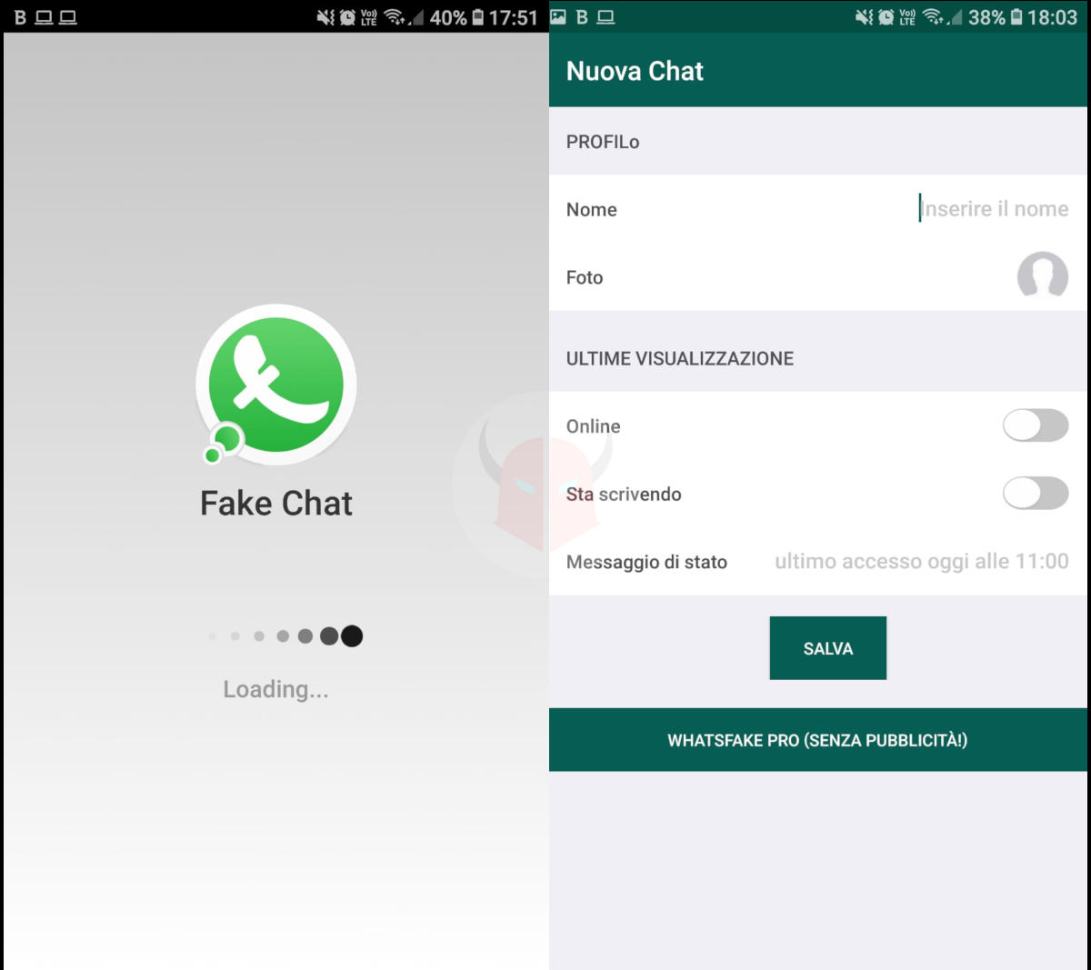 come creare false chat Android app Fake Chat