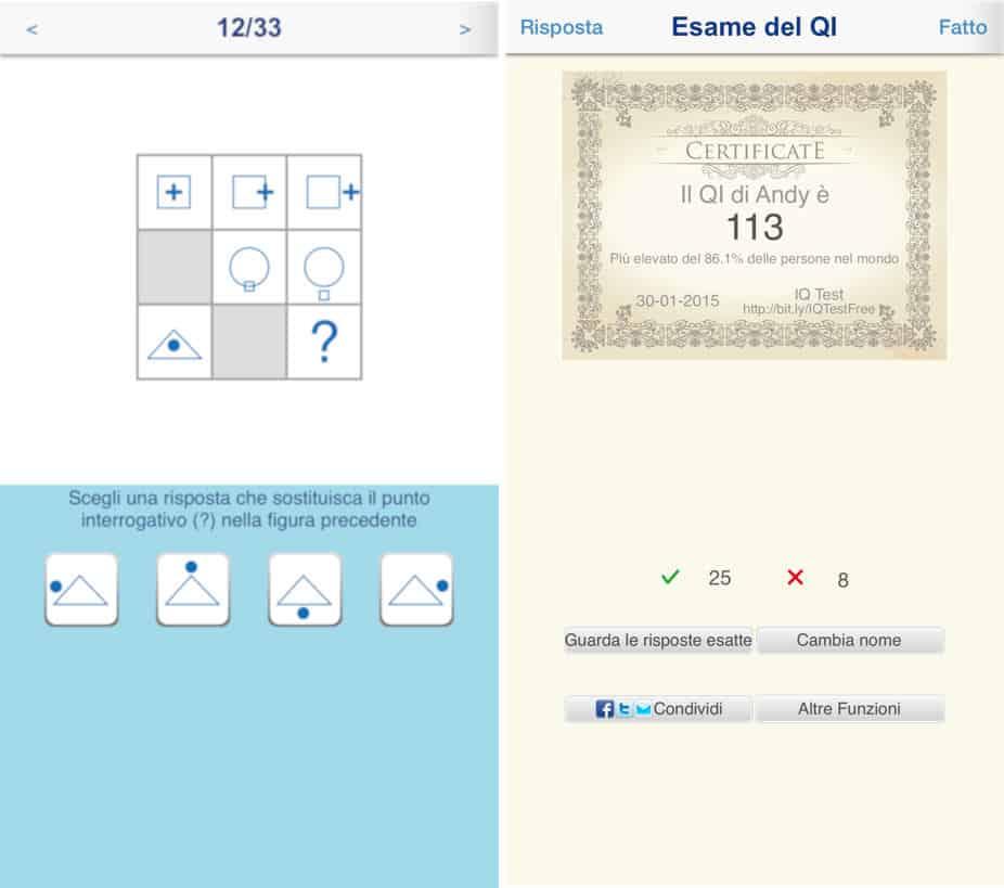 come misurare il quoziente intellettivo app iOS