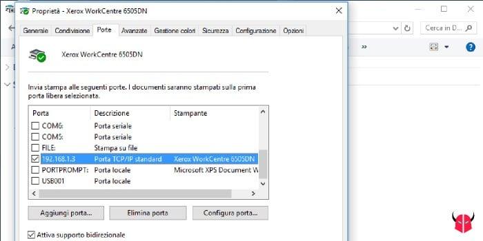 stampante offline Windows di rete configurazione porta