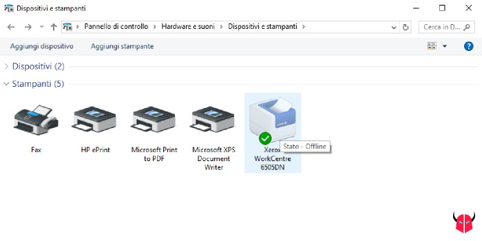 stampante offline Windows di rete