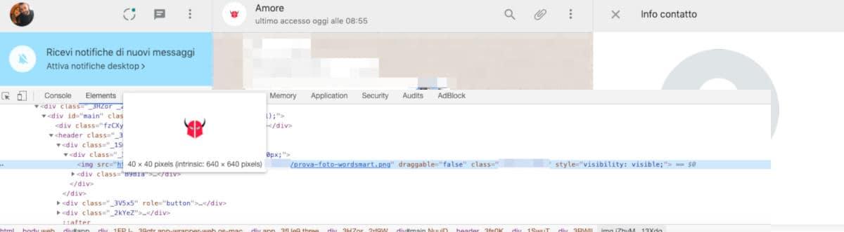come cambiare immagine contatti WhatsApp Web editing HTML