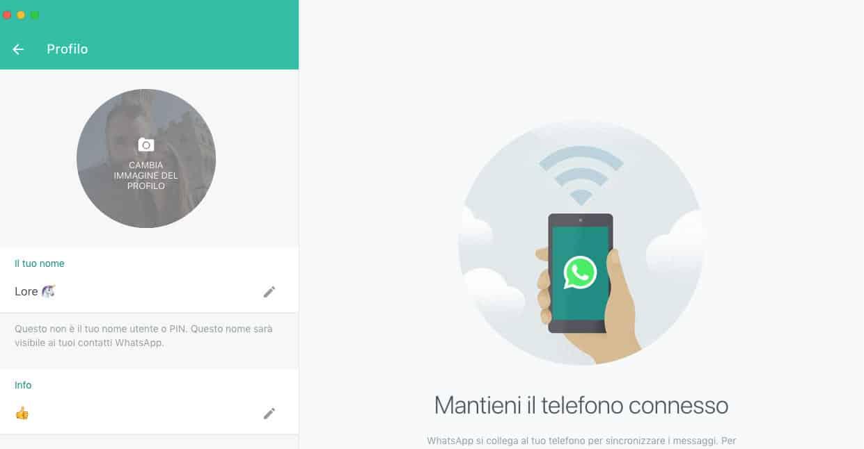 come cambiare immagine contatti WhatsApp accesso remoto WA desktop