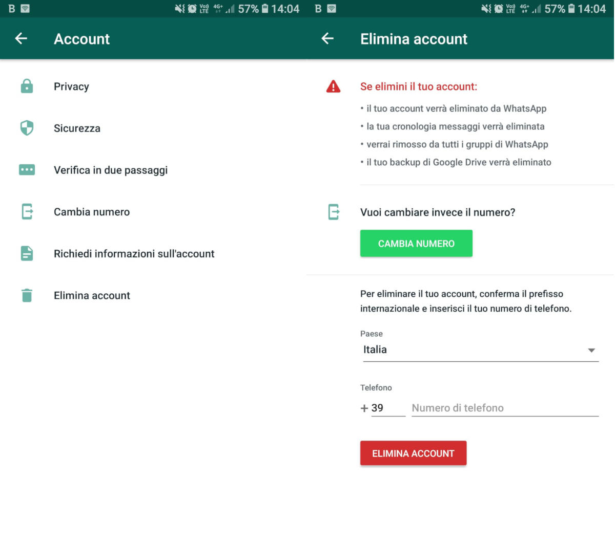 come cancellare account WhatsApp eliminazione definitiva