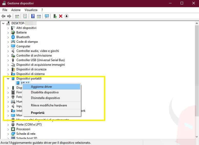 come installare driver USB Android gestione dispositivi opzione Aggiorna driver