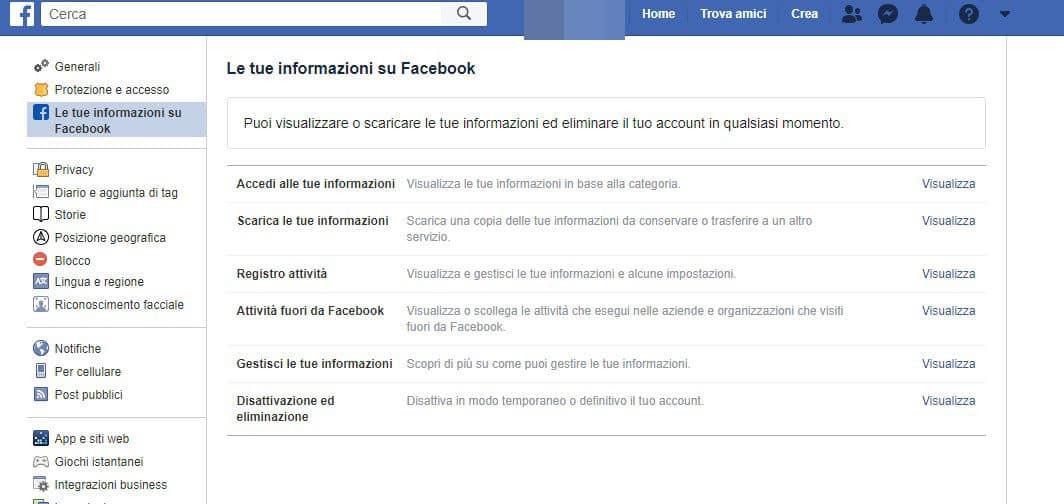 come nascondere il profilo Facebook disattivazione