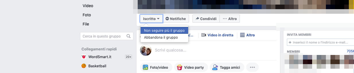 come non vedere i post di una persona su Facebook Gruppo