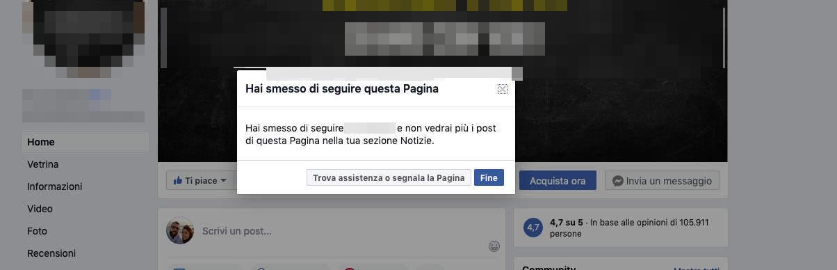 come non vedere i post di una persona su Facebook Pagina