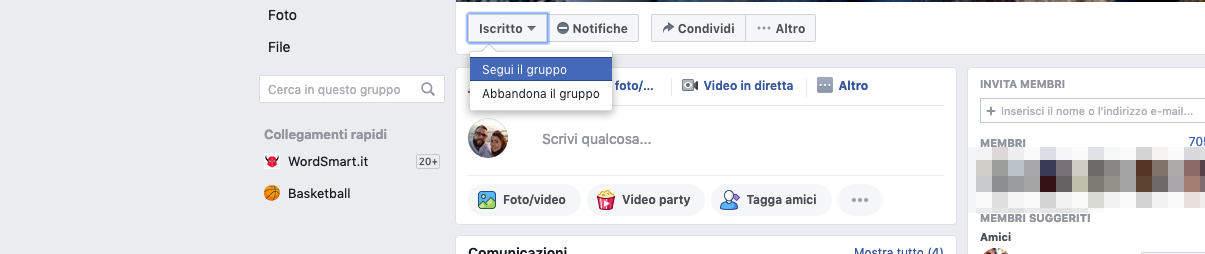 come non vedere i post di una persona su Facebook ripristinare visualizzazione