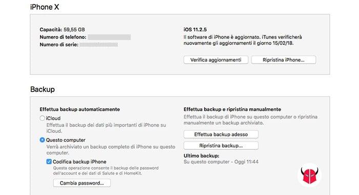 come ripristinare backup WhatsApp iTunes