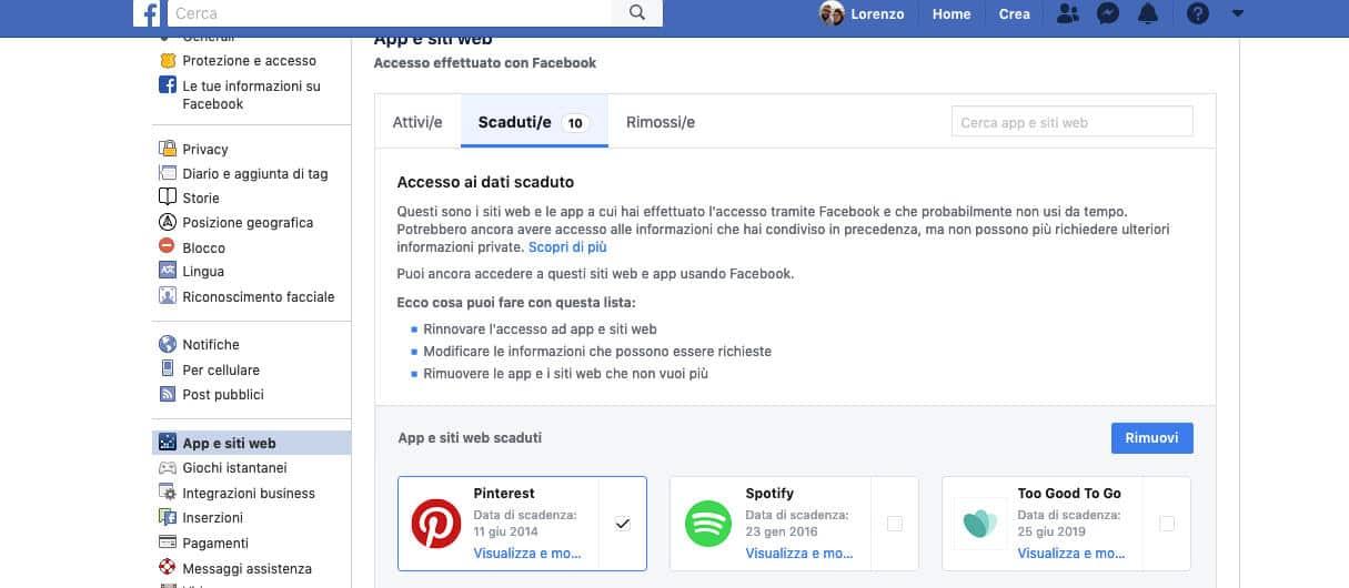 come vedere le app collegate a Facebook disconnessione app