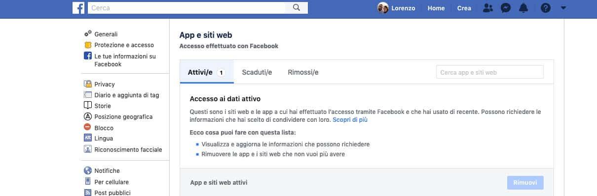 come vedere le app collegate a Facebook visualizzazione