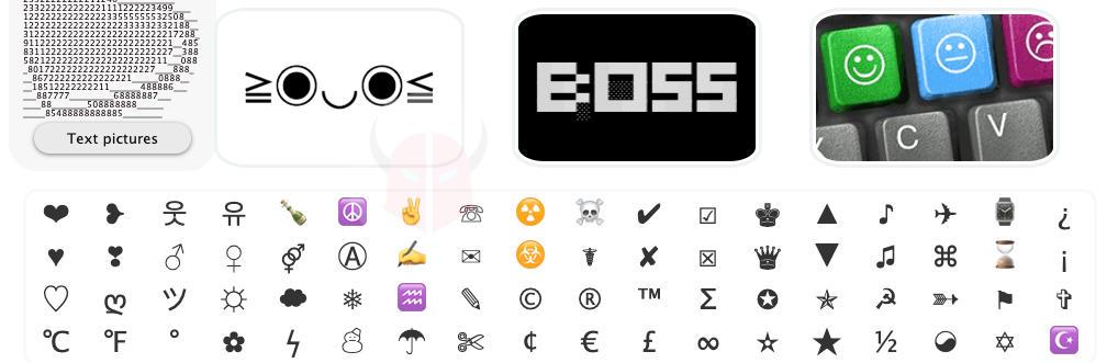 simboli per Facebook opzioni di FSymbols