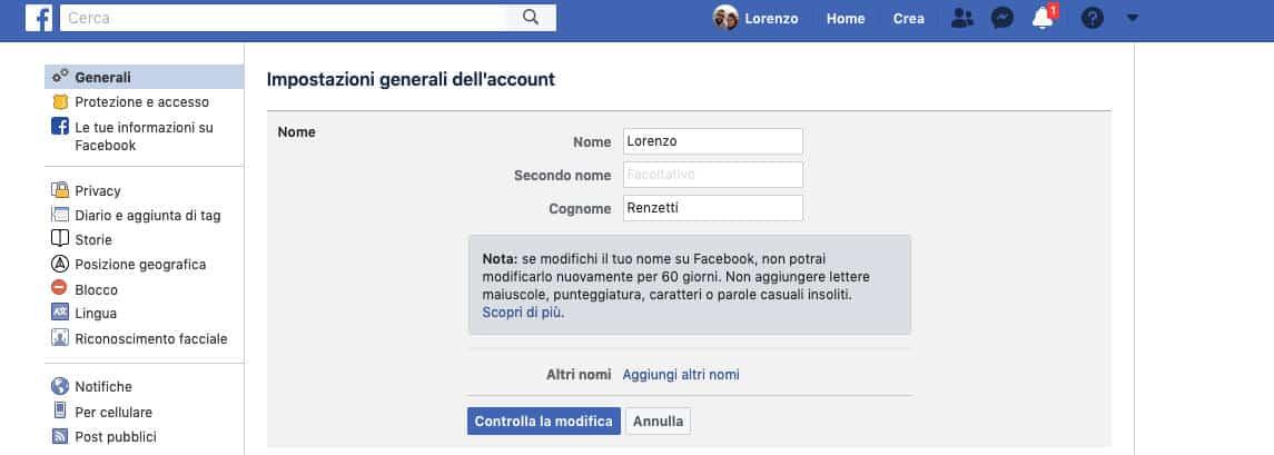 cambiare nome su Facebook sito web