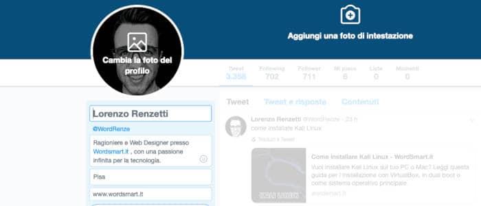 come cambiare nome su Twitter nome profilo visualizzato