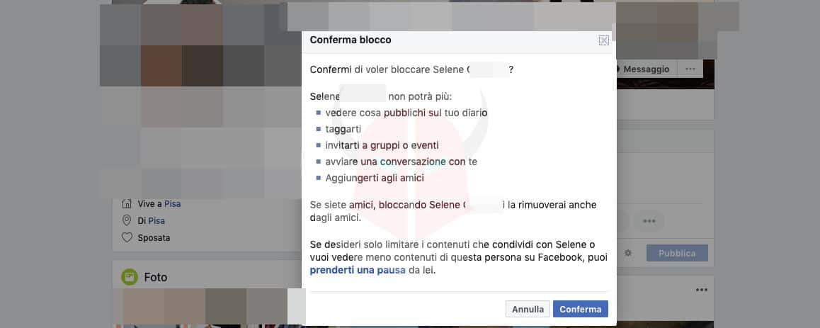 come bloccare una persona su Facebook PC