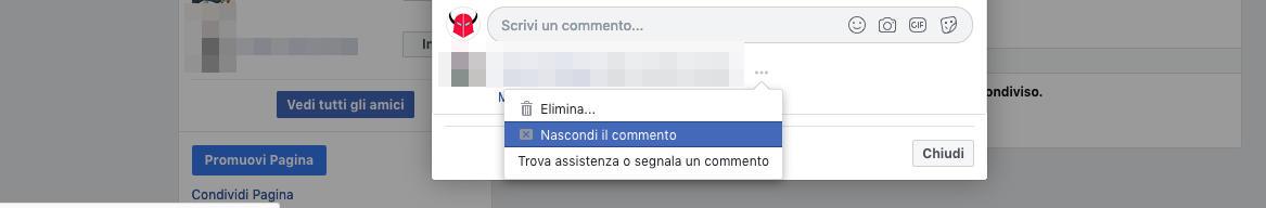 come bloccare una persona su Facebook commenti