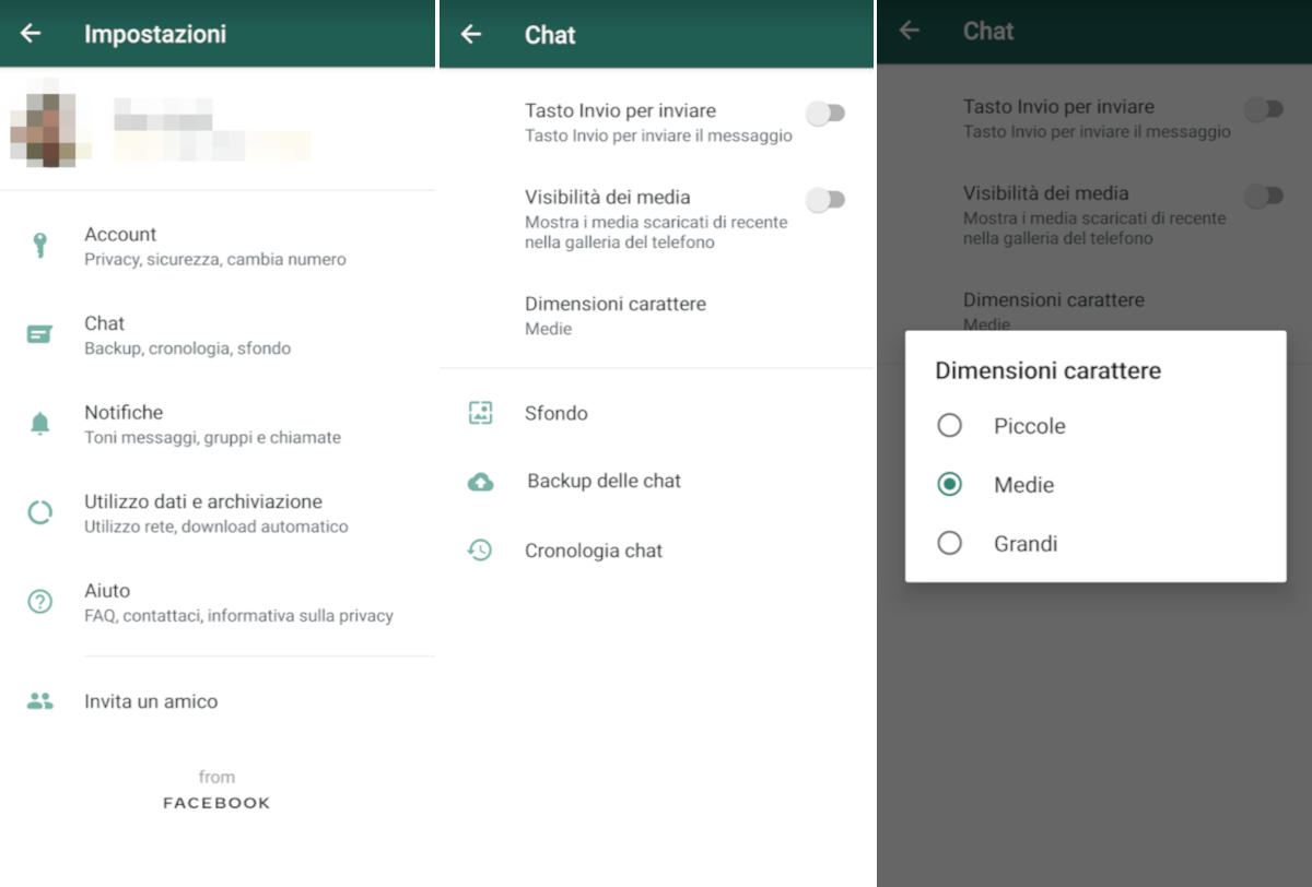 come cambiare font su WhatsApp cambio dimensioni