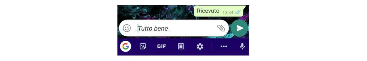 come cambiare font su WhatsApp esempio formattazione in grassetto
