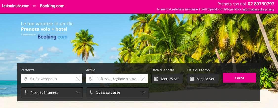 come prenotare un volo online e hotel Booking con lastminute