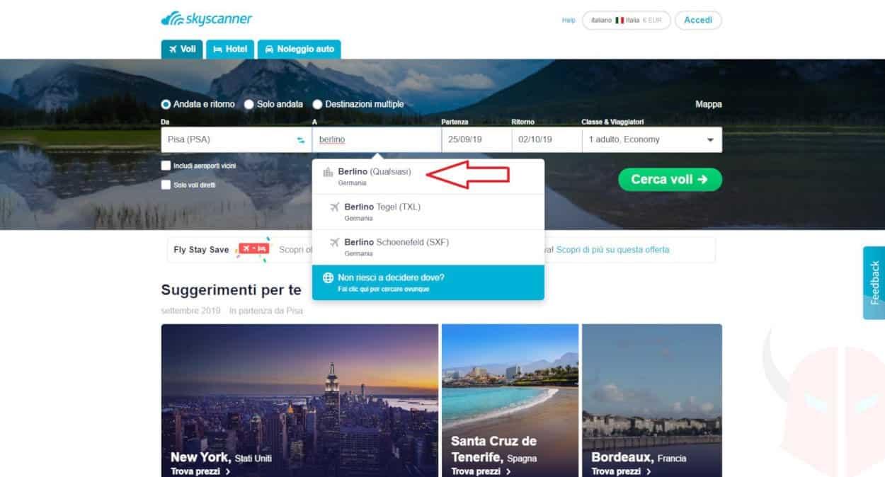 come prenotare un volo online esempio Skyscanner inserimento dati