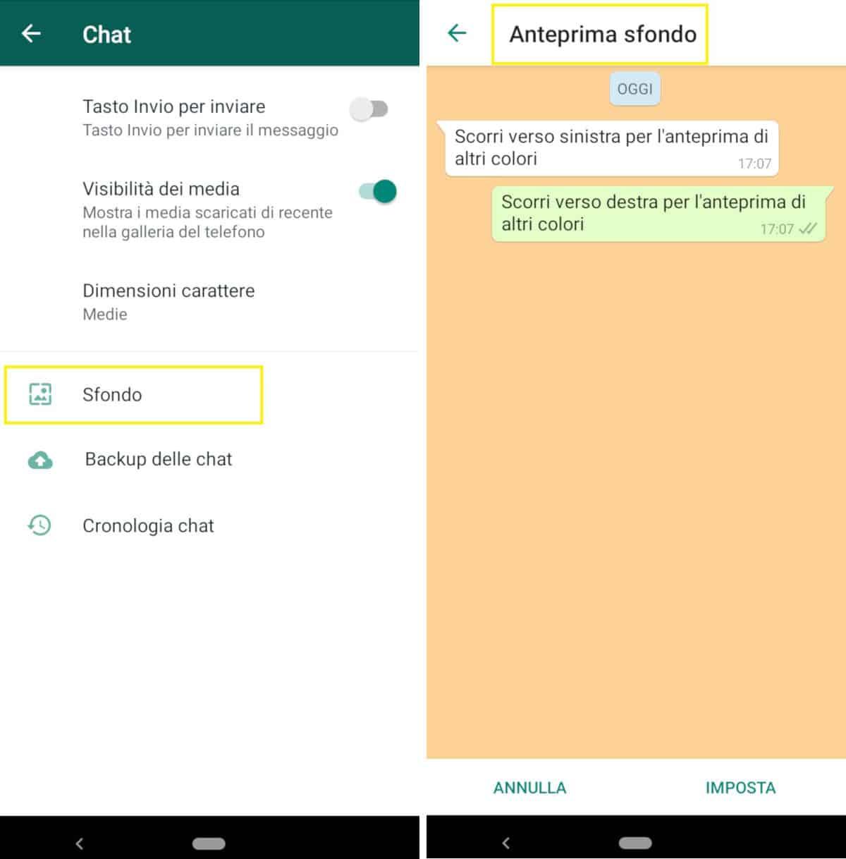 come cambiare lo sfondo su WhatsApp Android