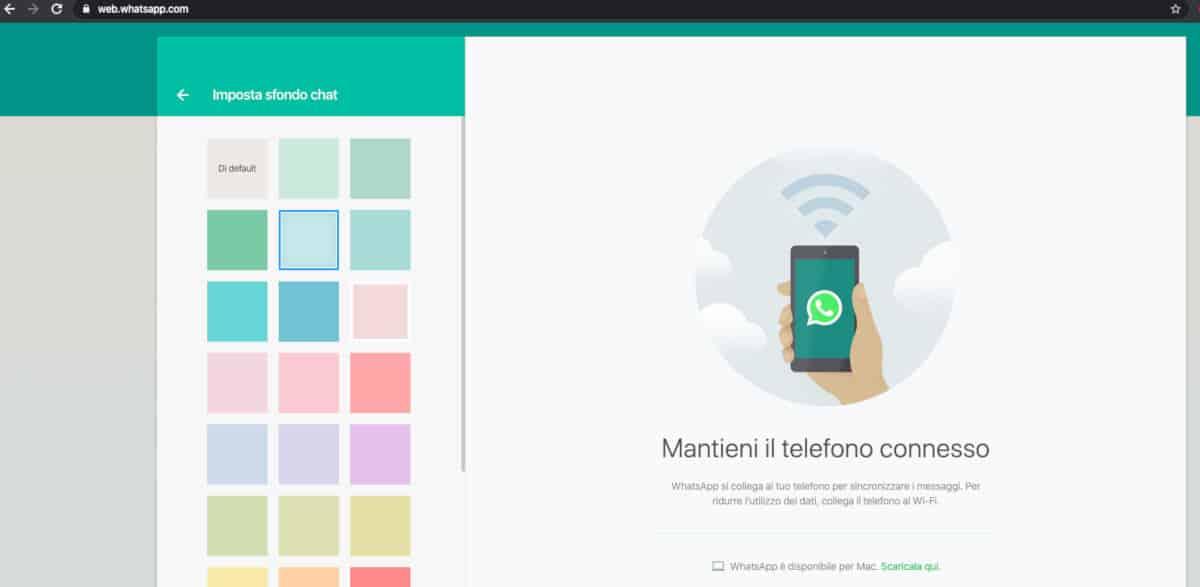 come cambiare lo sfondo su WhatsApp Web