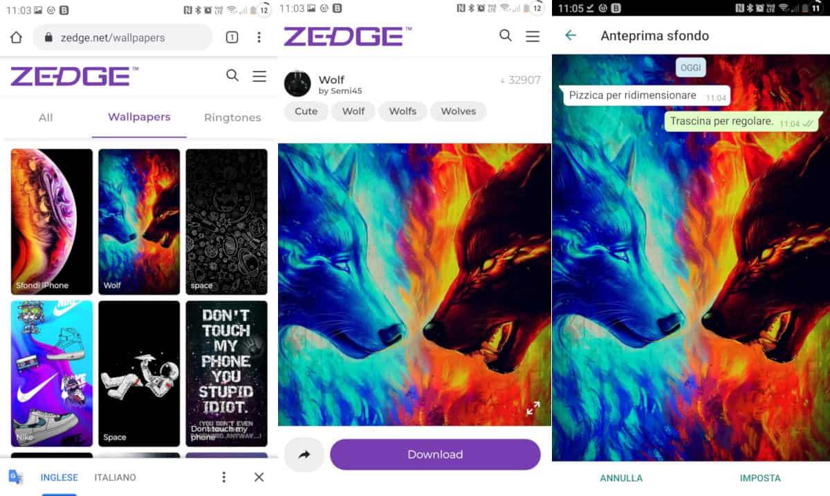 come cambiare lo sfondo su WhatsApp esempio sito Zedge