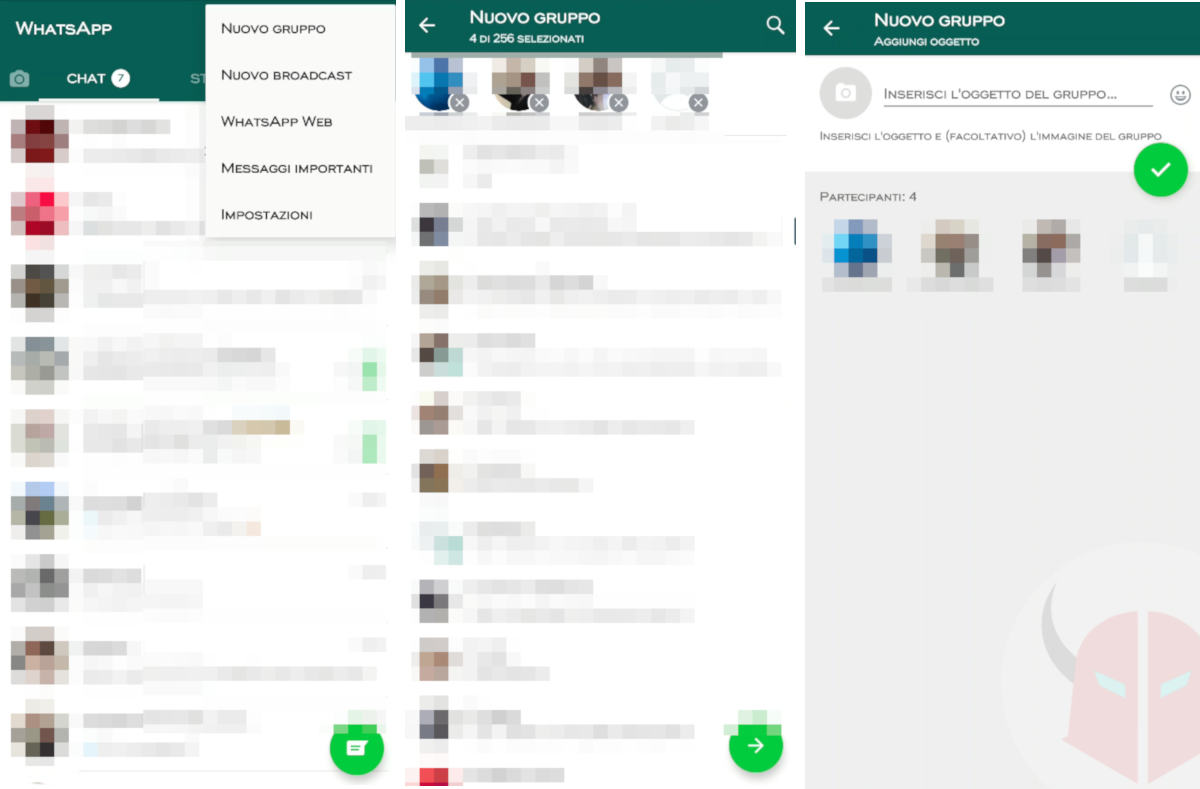 come creare un gruppo WhatsApp Android