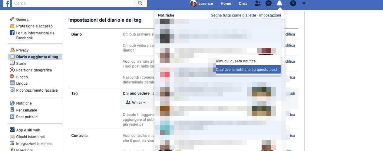 come disattivare le notifiche delle foto di Facebook disattivazione