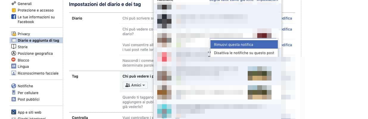 come disattivare le notifiche delle foto di Facebook rimozione