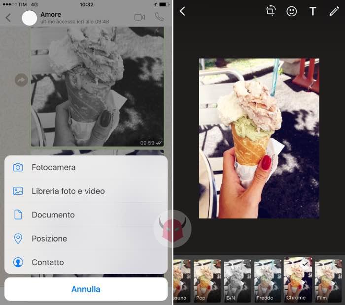 fotocamera WhatsApp filtri