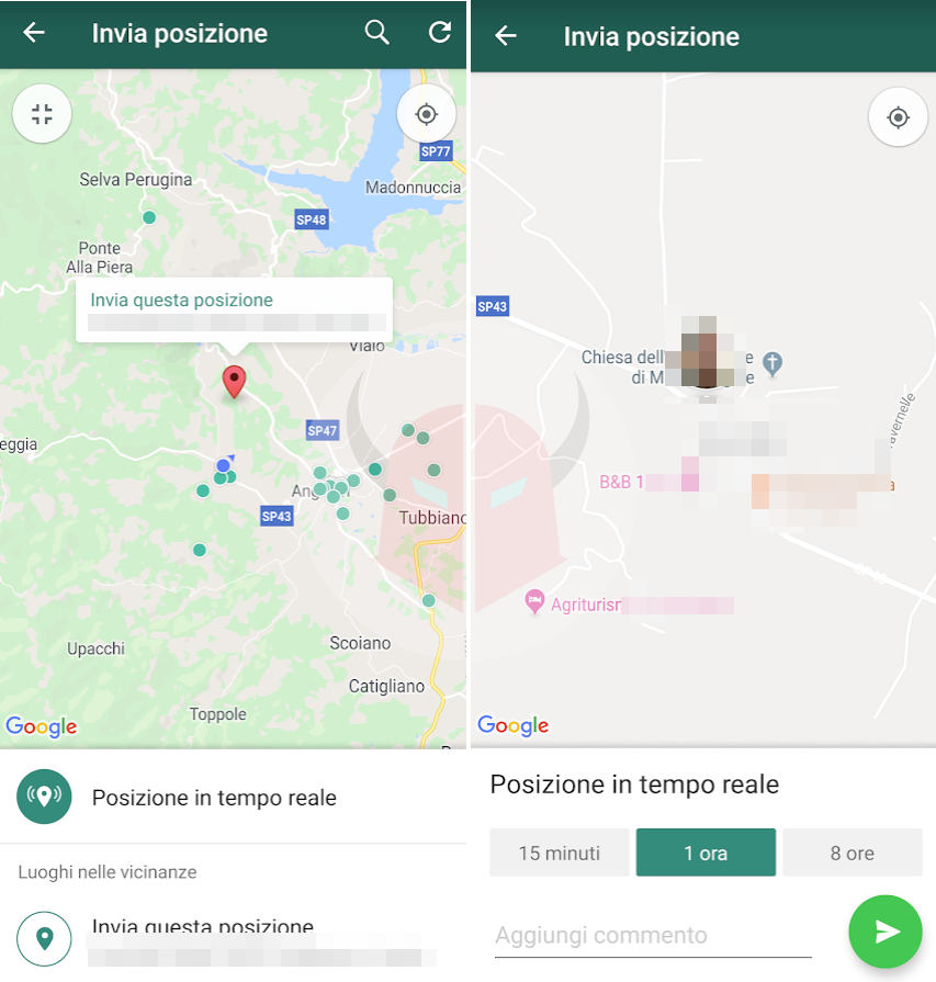 come cambiare la posizione su WhatsApp con Android esempio posizione in tempo reale