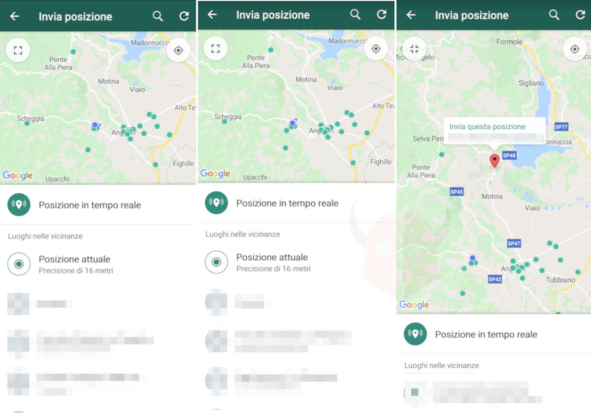 come cambiare la posizione su WhatsApp con Android invio posizione manuale