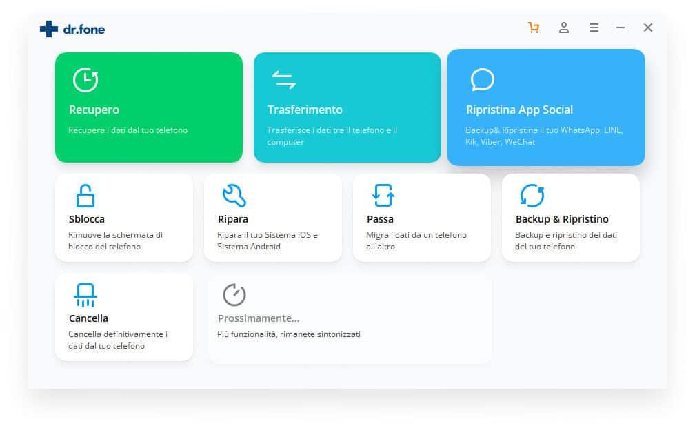 come trasferire le chat WhatsApp da Android ad iPhone interfaccia Dr Fone