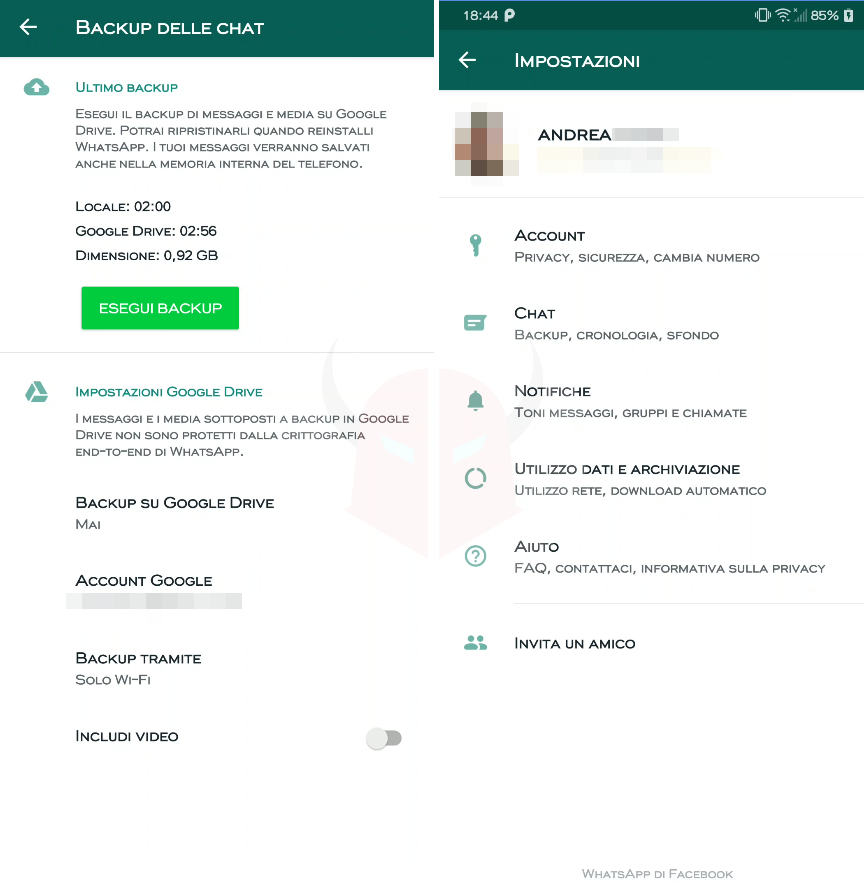 come salvare chat WhatsApp Android backup locale