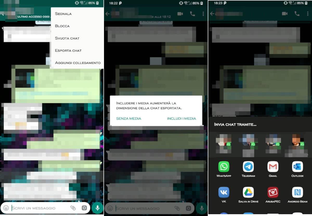 come salvare chat WhatsApp esportazione TXT