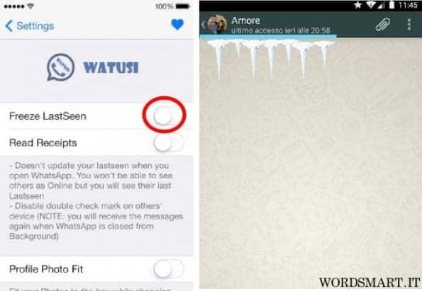 congelare ultimo accesso whatsapp