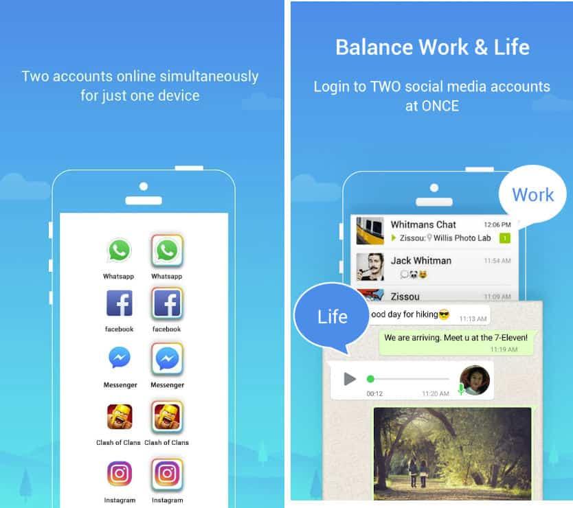 come avere due account WhatsApp esempio app Parallel Space