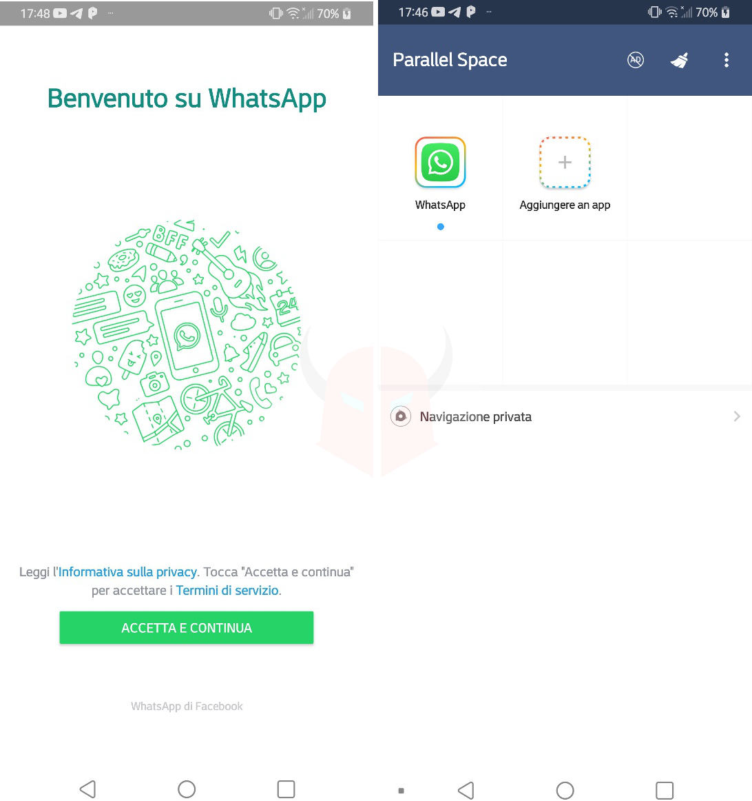 come clonare WhatsApp apertura app con Parallel Space