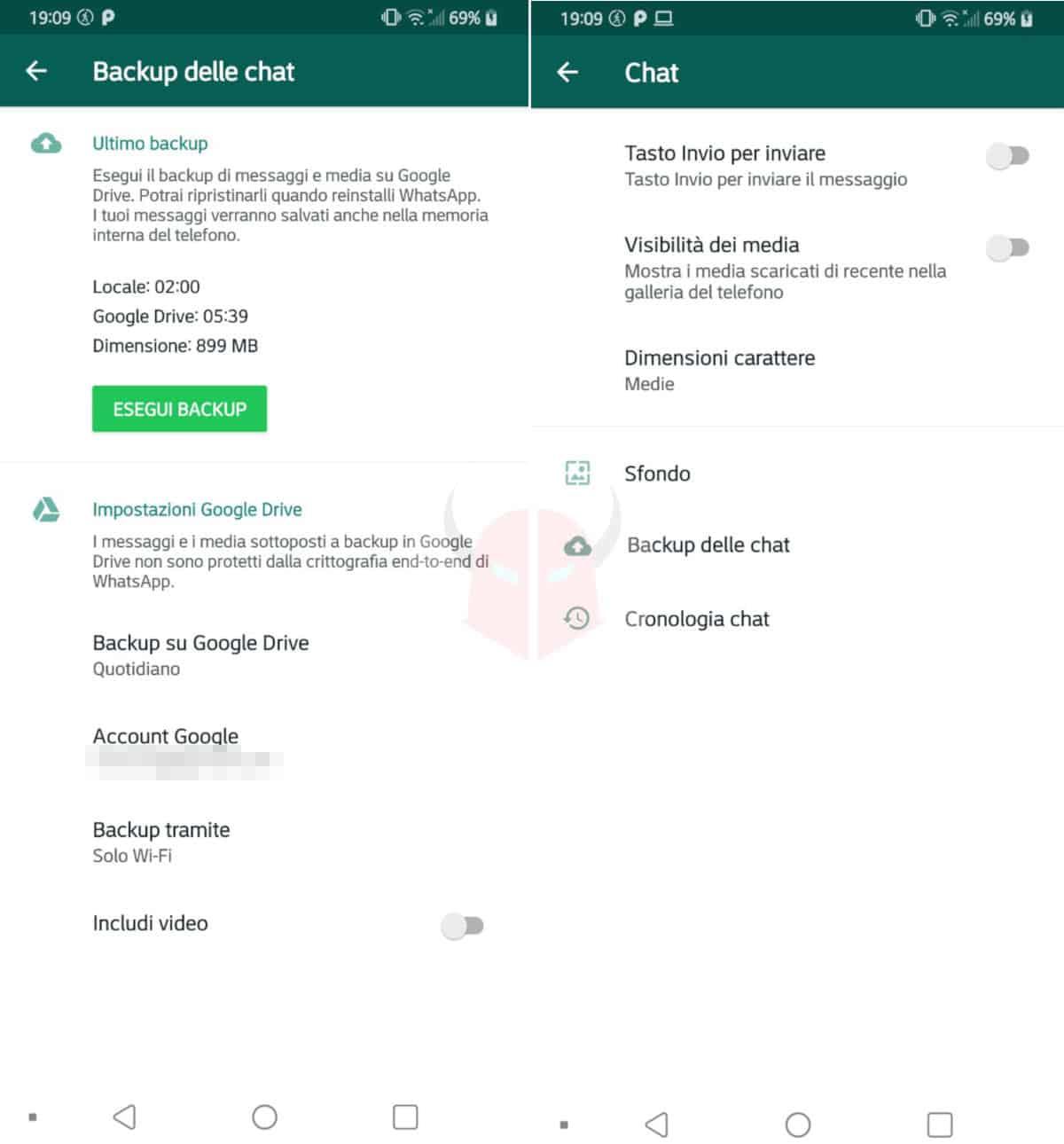 come clonare WhatsApp nuovo telefono esempio backup Google Drive Android