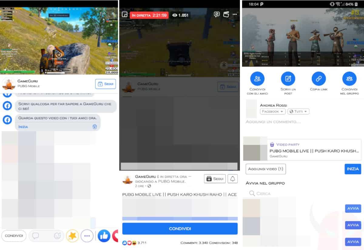come condividere video da Facebook a WhatsApp diretta live