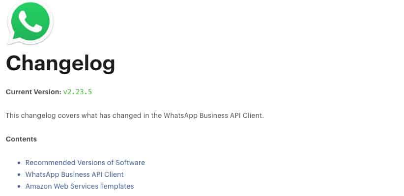 come vedere la versioni di WhatsApp changelog